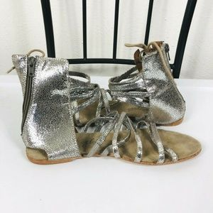 Free People Silver Juliette Gladiator Sandals